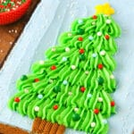 Christmas Tree Chocolate Chip Cookie Cake | Easy Christmas Dessert