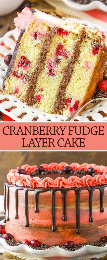 collage of Cranberry Fudge Layer Cake -slice and whole cake
