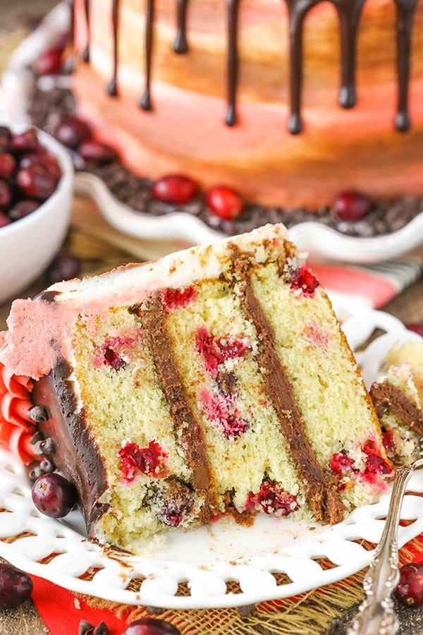 slice of Cranberry Fudge Layer Cake bite on fork