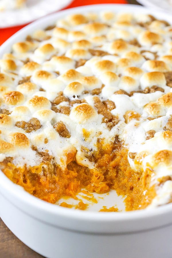 Sweet Potato Casserole with marshmallows and streusel topping! Perfect side for Thanksgiving!