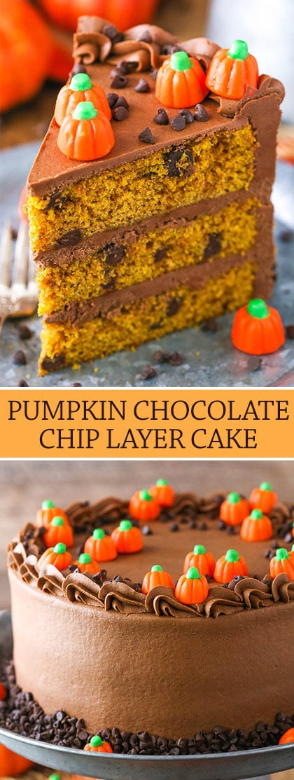 Pumpkin Chocolate Chip Cake images of slice and decorated cake collage