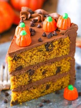 slice of Pumpkin Chocolate Chip Layer Cake
