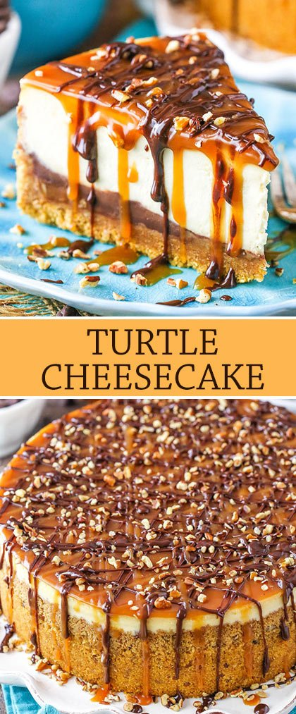 This Turtle Cheesecake is made with a graham cracker crust and plenty of caramel, chocolate and pecans!