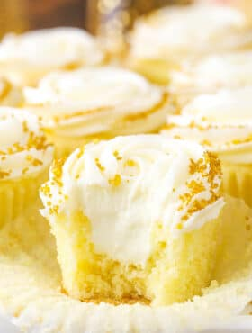 close up image of Moist Champagne Cupcakes