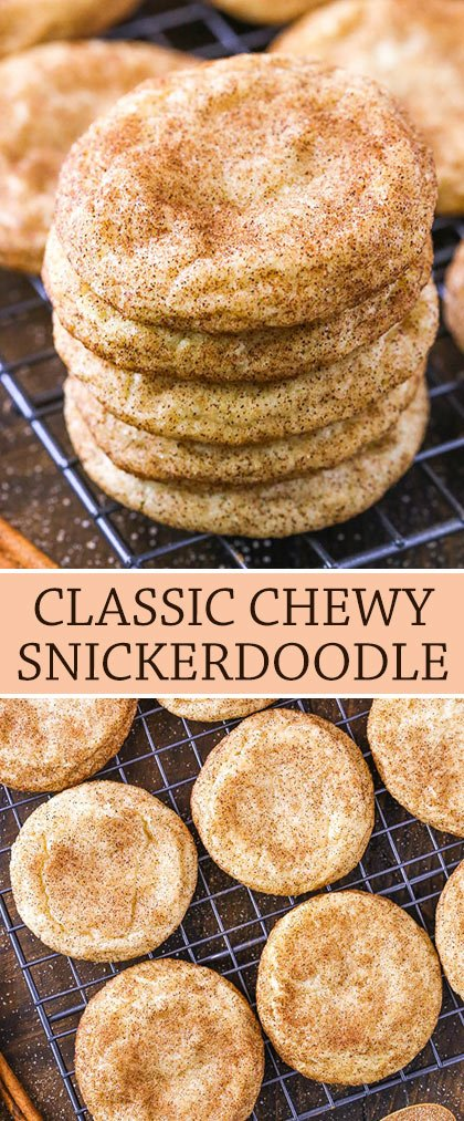 These Chewy Snickerdoodles are soft and buttery cookies that are covered in cinnamon and sugar!