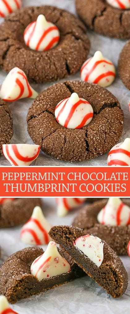 Peppermint Chocolate Thumbprint Cookies! Soft, chewy chocolate cookies topped with peppermint Hershey kisses!