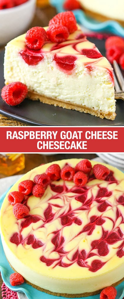 This Raspberry Goat Cheese Cheesecake is ridiculously smooth and creamy a wonderful raspberry swirl that compliments the goat cheese so well, and a hint of honey in the crust!