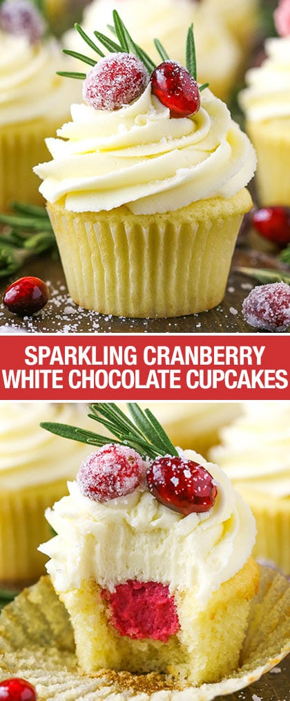 Sparkling Cranberry White Chocolate Cupcakes! A moist vanilla cupcake with cranberry mascarpone filling and a white chocolate buttercream! Perfect dessert for Christmas!