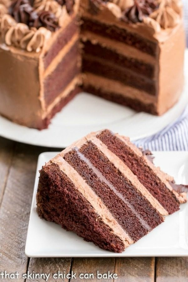 slice of chocolate fudge layer cake