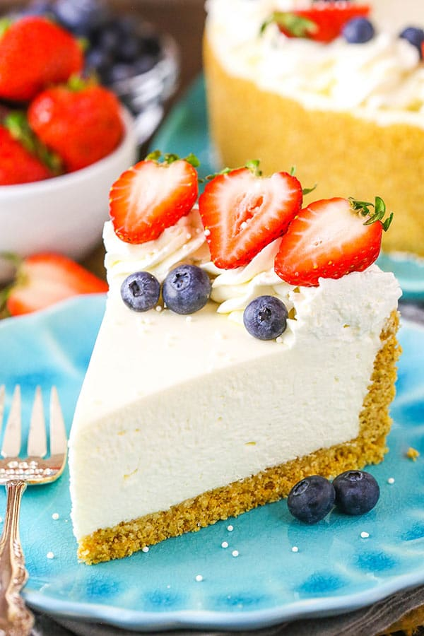 No Bake Vanilla Cheesecake! Made from scratch with sour cream and fresh whipped cream and no gelatin!