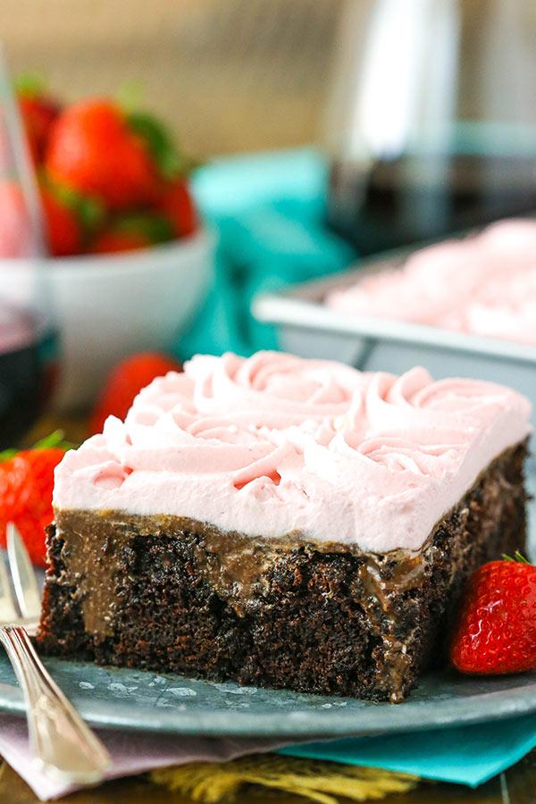 Red Wine Chocolate Poke Cake