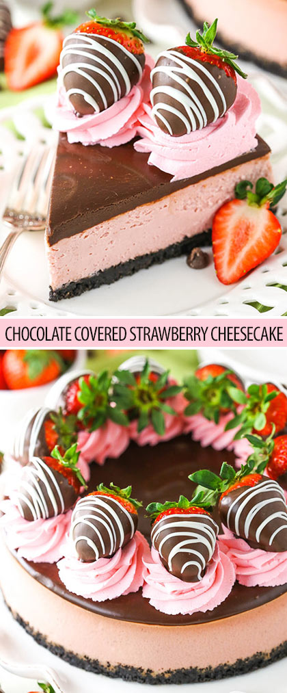 This Chocolate Covered Strawberry Cheesecake is made with a strawberry cheesecake filling and chocolate Oreo crust, all covered in chocolate ganache and chocolate covered strawberries!