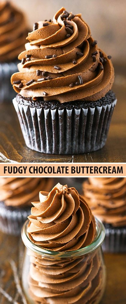 This Fudgy Chocolate Buttercream Frosting is the perfect easy chocolate buttercream frosting recipe made with both chocolate chips and cocoa powder!