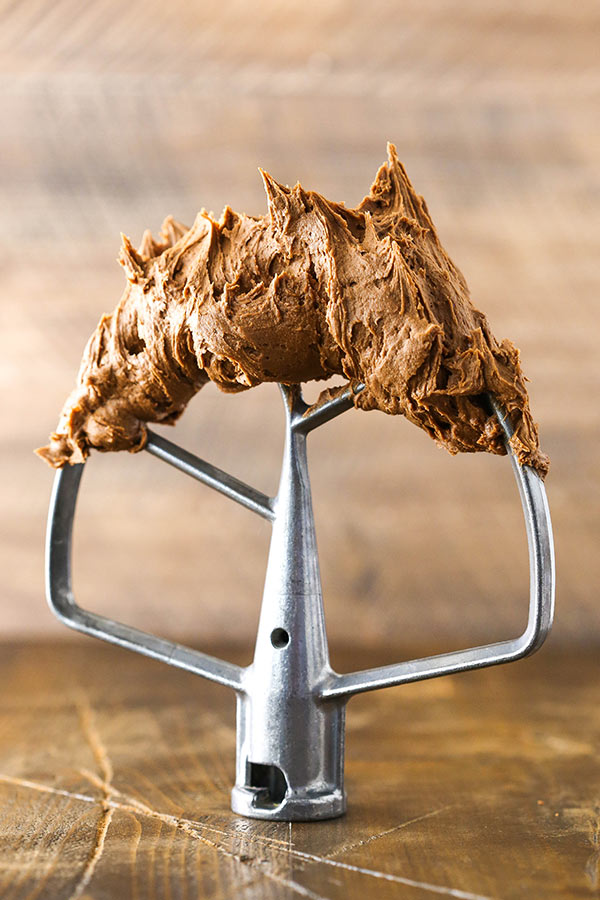 Fudgy Chocolate Buttercream Frosting on mixer paddle