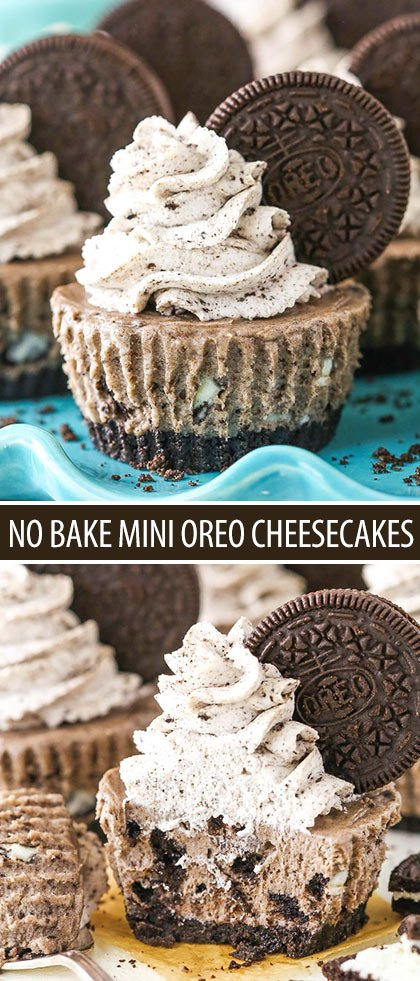 These No Bake Mini Oreo Cheesecakes are made with an Oreo crust and the best Oreo cheesecake filling!
