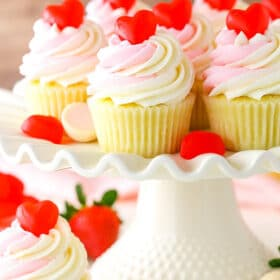 Strawberry Truffle Cupcakes on cake stand