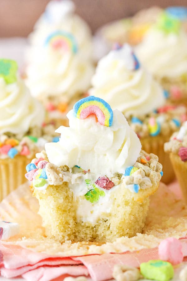 Lucky charms cupcakes with a bite taken out