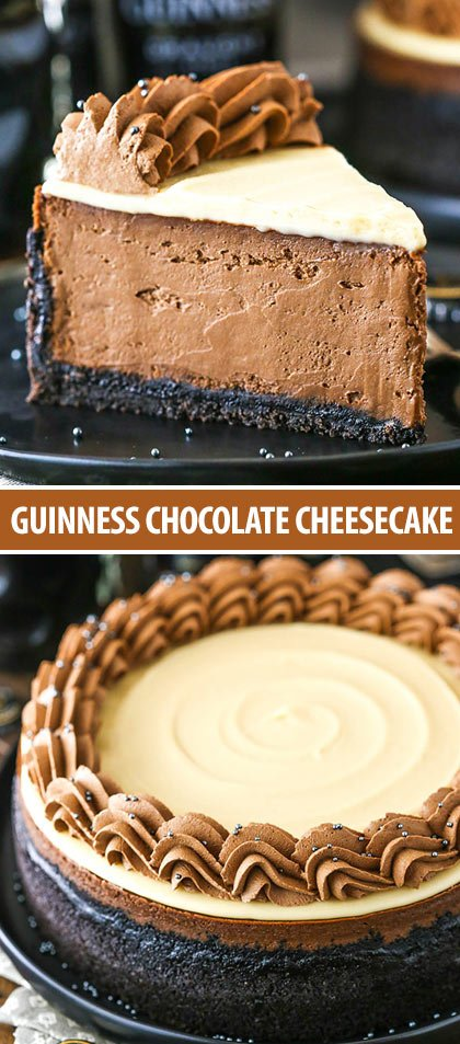 Collage of guinness chocolate cheesecake photos