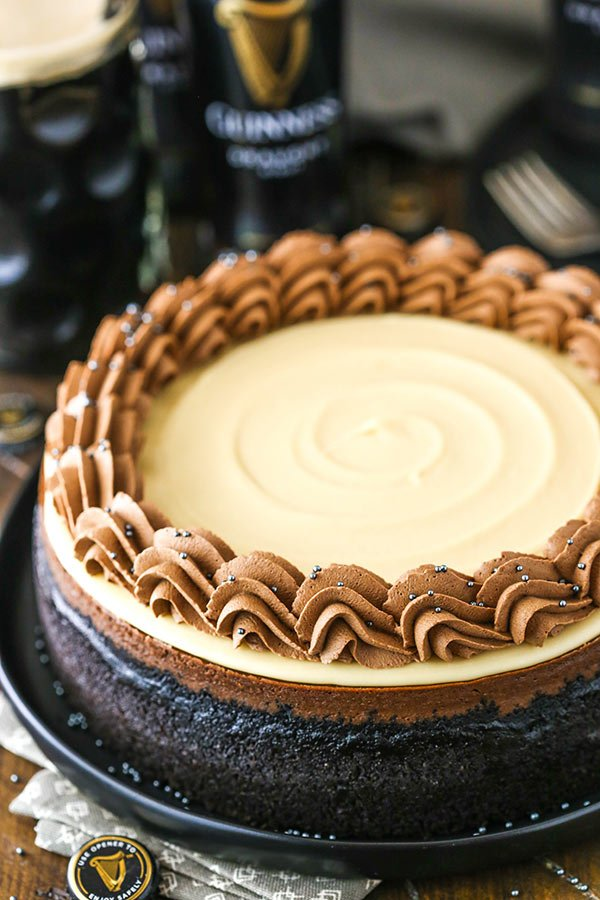 guinness chocolate cheesecake from an angle