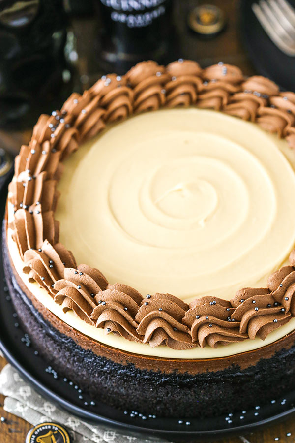 full guinness chocolate cheesecake from above