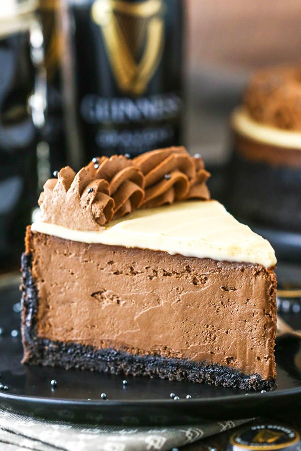slice of guinness chocolate cheesecake