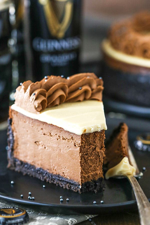 slice of guinness chocolate cheesecake with bite taken