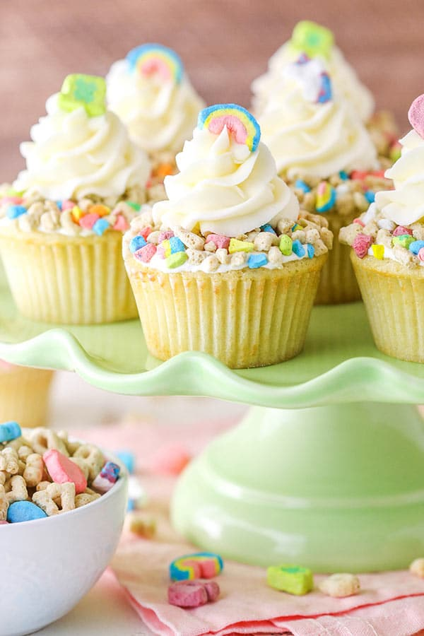 lucky charms cupcakes on cake stand