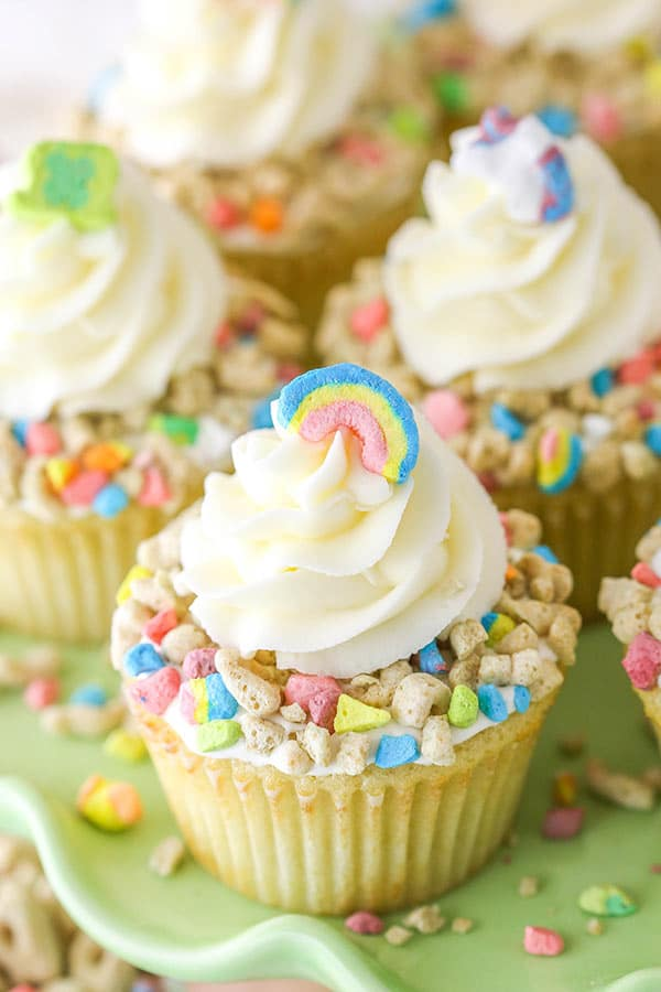 lucky charms cupcake on cake stand