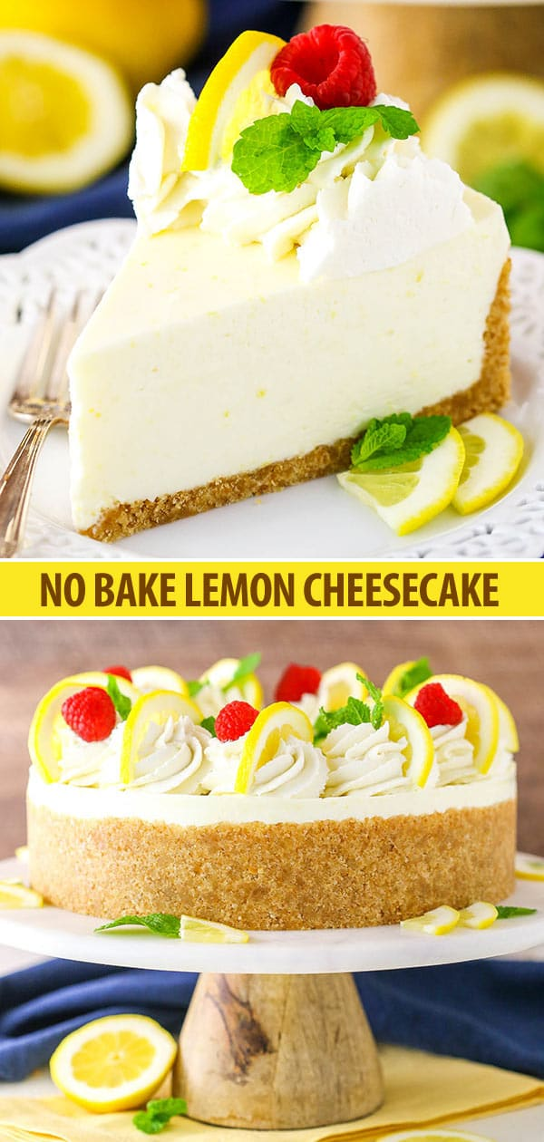 No Bake Lemon Cheesecake collage - slice and whole cake