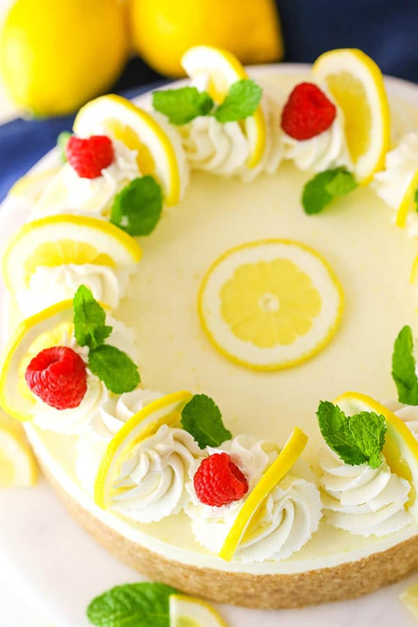 No Bake Lemon Cheesecake - creamy, tart and easy to make! It's full of lemon flavor and such a great dessert for spring and summer!