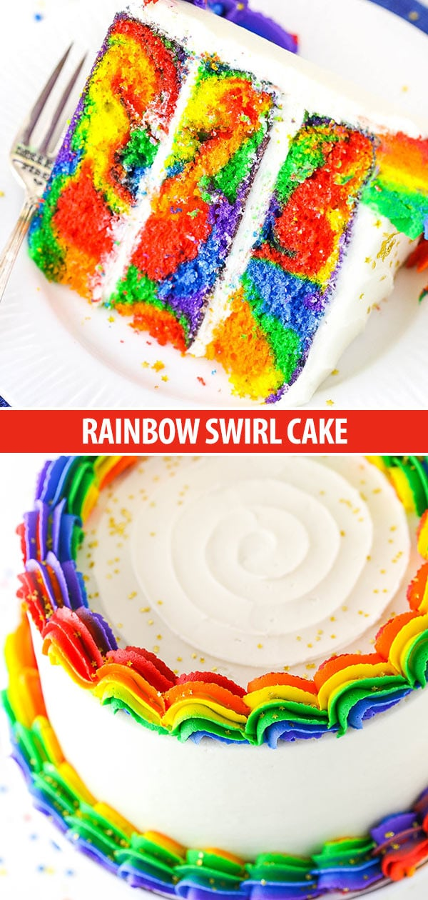Rainbow Swirl Cake Collage
