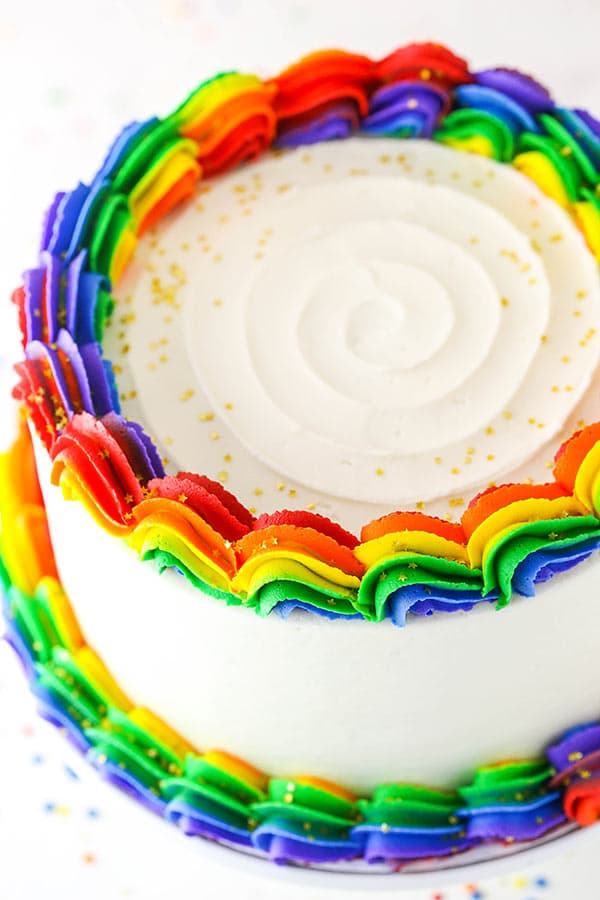 Fully frosted rainbow swirl cake