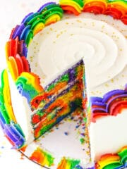 rainbow swirl cake with slice cut out