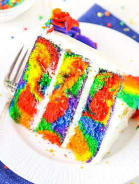 slice of rainbow swirl cake