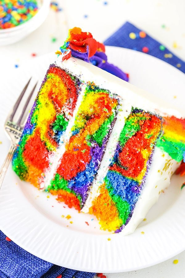 slice of rainbow swirl cake