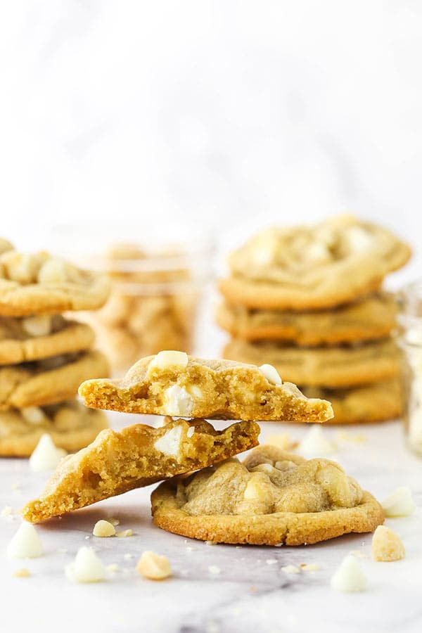 White Chocolate Macadamia Nut Cookies one cookie halved