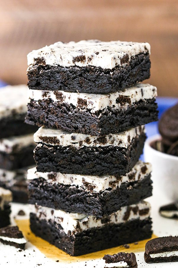 Stack of Cookies and Cream Oreo Brownies
