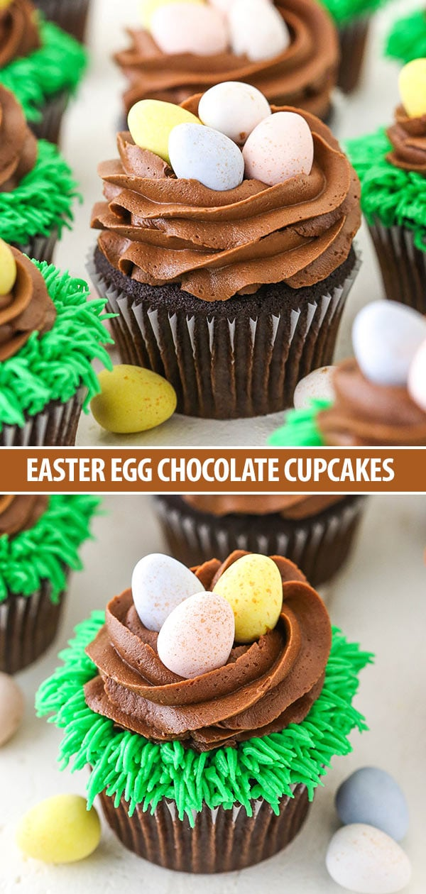 These Easter Egg Chocolate Cupcakes are moist chocolate cupcakes topped with chocolate frosting