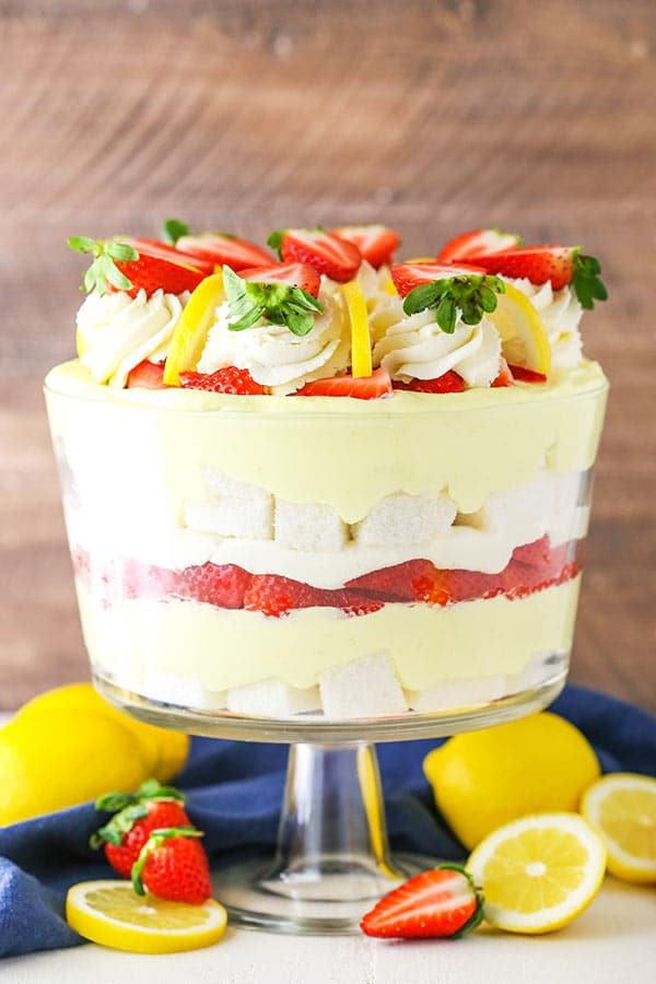 side view of lemon strawberry trifle