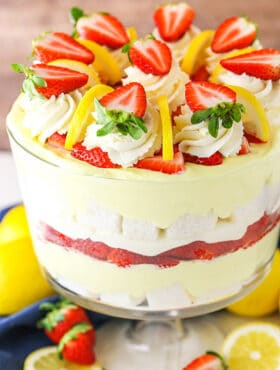 side view of Easy Lemon Strawberry Trifle