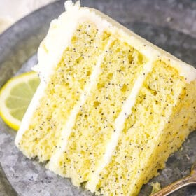 slice of lemon poppyseed cake