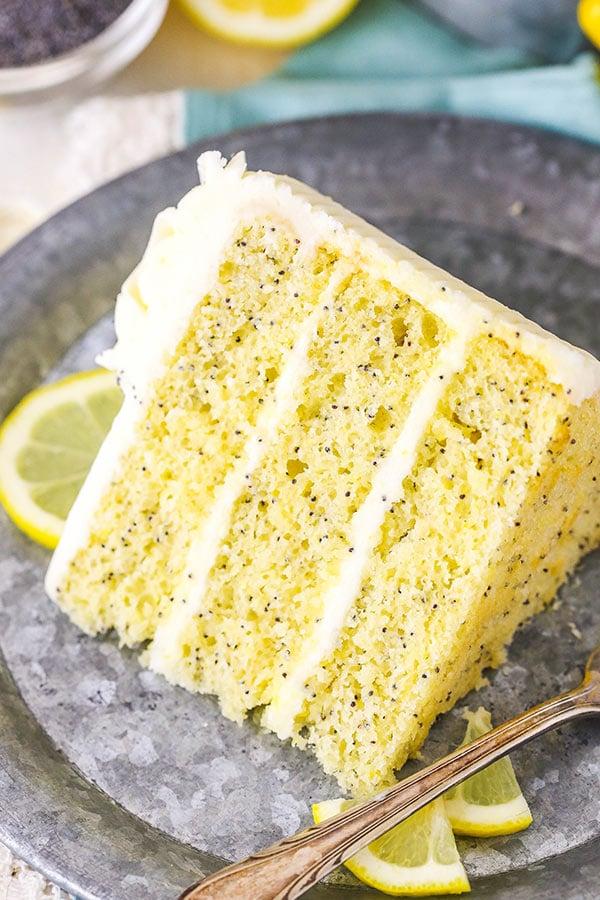 slice of lemon poppyseed cake