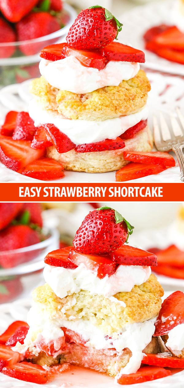 This Easy Strawberry Shortcake Recipe is as simple as it gets - homemade shortcake biscuits, juicy strawberries and homemade whipped cream!