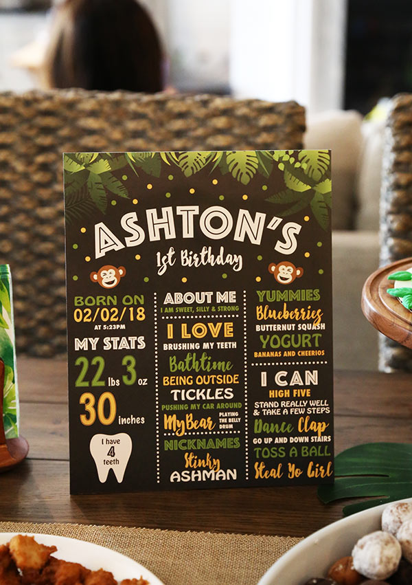 Ashton's Milestones Written on a Festive Monkey Themed Birthday Card