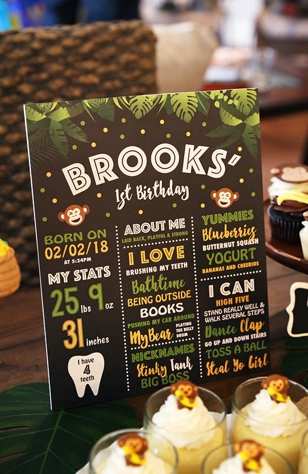 A Little Poster Detailing Brooks' Milestones at One Year Old