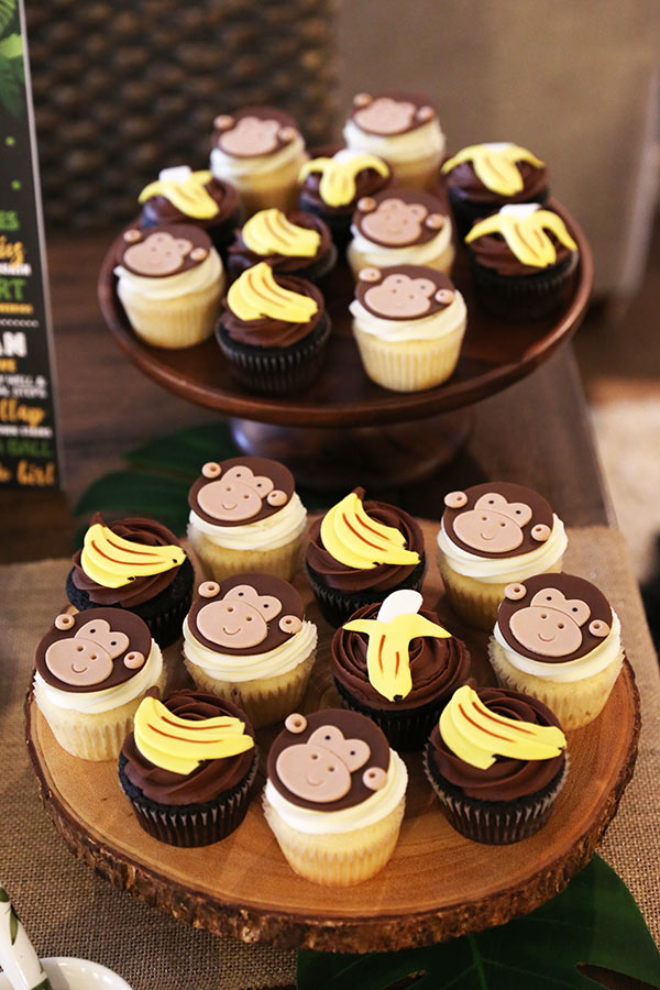 monkey and banana decorated cupcakes