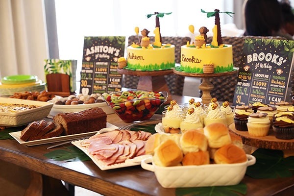 Ashton and Brooks table of party food