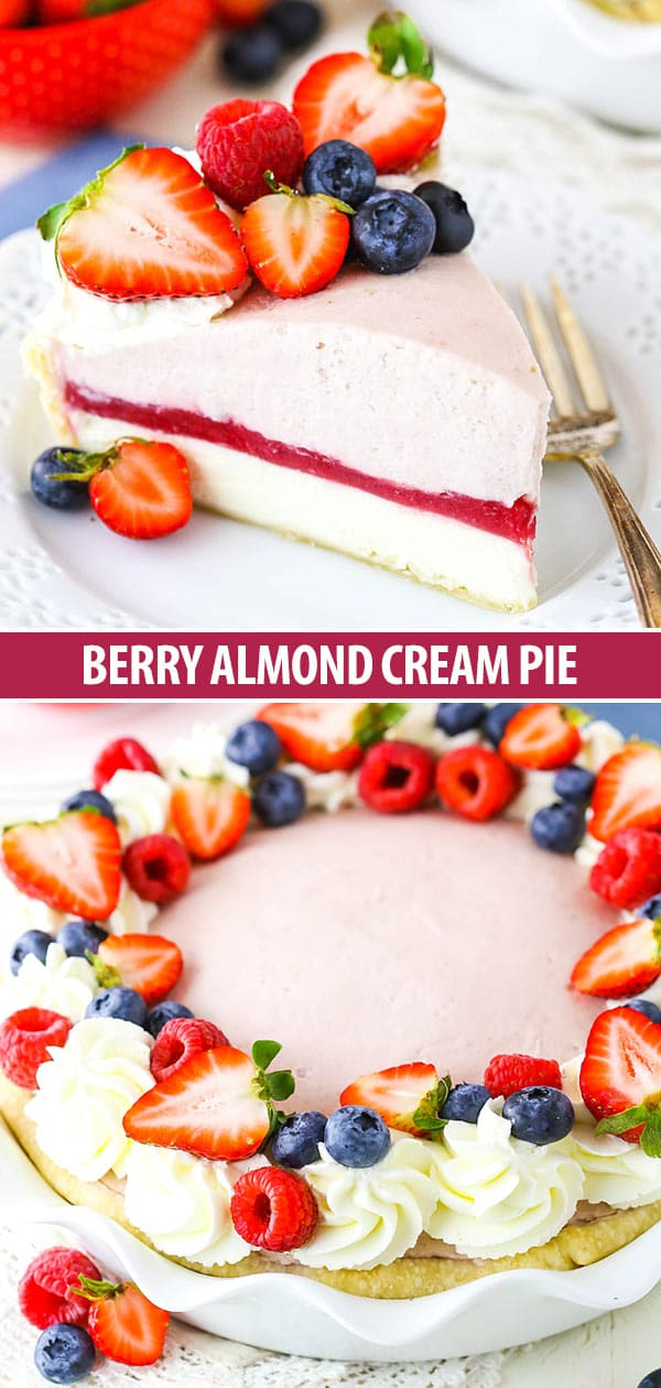 collage of berry almond pie - full pie shot and slice shot