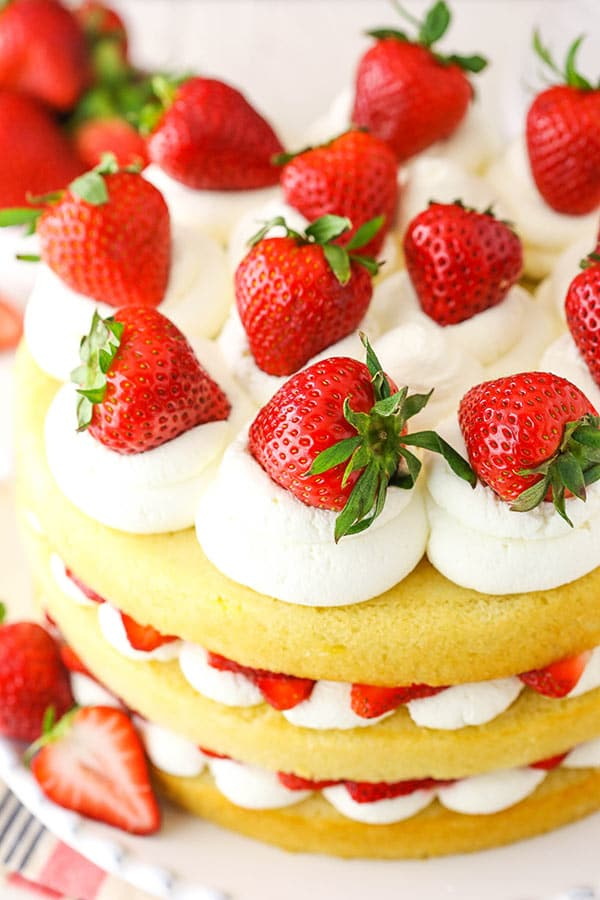 layered strawberry shortcake cake from an overhead angle