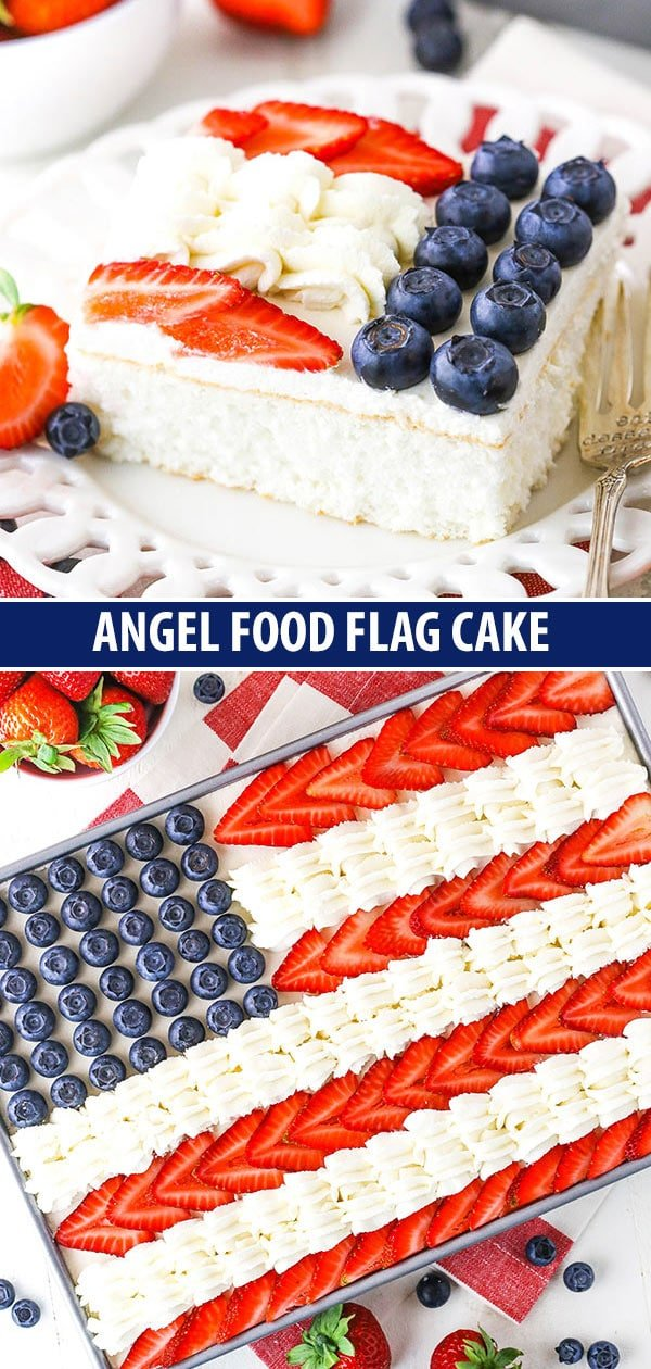 collage of photos - piece of cake and full angel food flag cake
